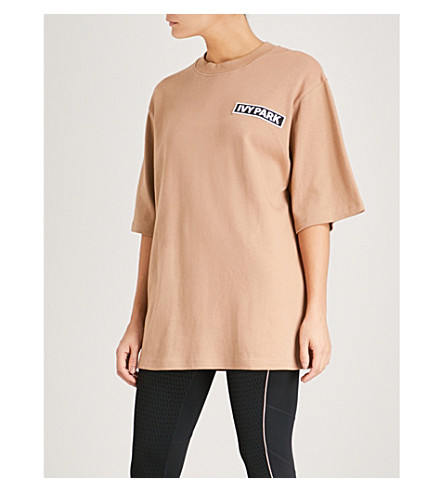 IVY PARK Logo-embroidered oversized cotton-jersey T-shirt (Sand