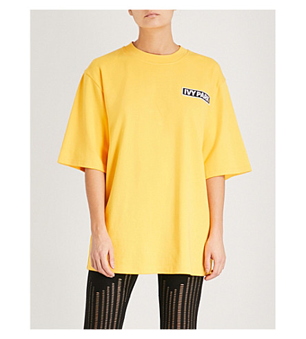 IVY PARK Logo-embroidered oversized cotton-jersey T-shirt (Old+gold