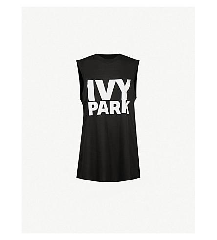IVY PARK Logo-print jersey top (Black