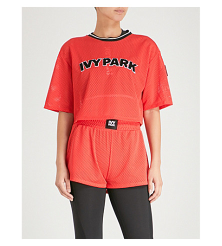 IVY PARK Airtex cropped sports mesh top Poppy red Low Cost Online Outlet Amazon Fashionable Cheap Online haMyEyG