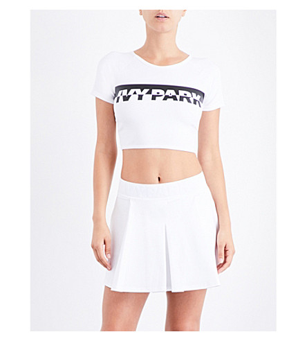 IVY PARK Logo Wrap Back stretch-jersey cropped top (White