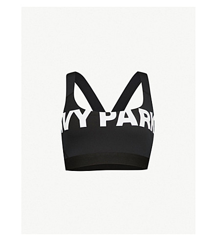 IVY PARK Logo-print jersey cropped top (Black