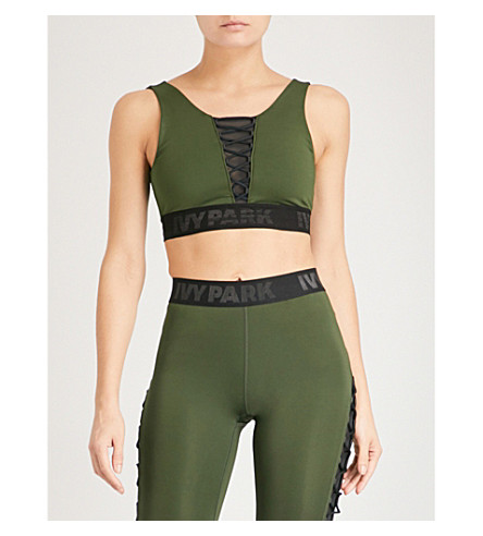 IVY PARK Lace-up stretch sports bra (Pine