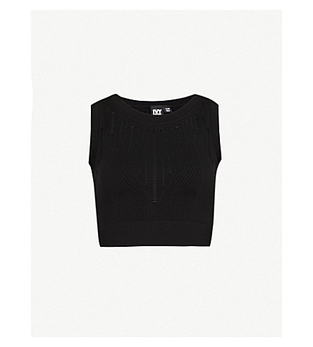 IVY PARK Ladder-detail cropped knitted top (Black