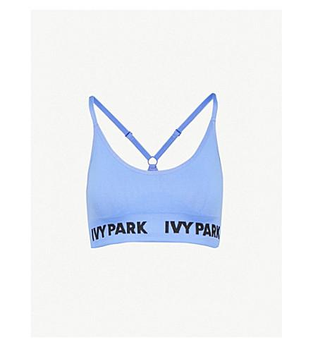 IVY PARK 徽标打印弹力平纹针织运动文胸 (韦奇伍德 + 蓝色