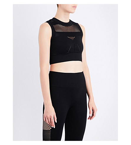 IVY PARK Netted cropped top (Black