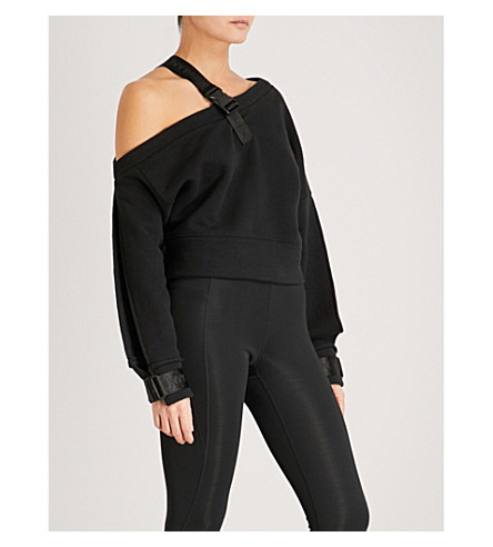 IVY PARK Harness-detail asymmetric stretch-cotton sweatshirt (Black