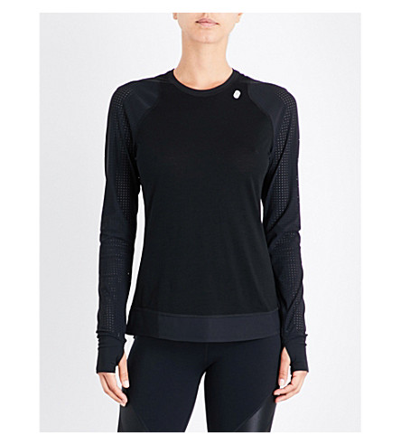 SWEATY BETTY Breeze wool-blend run top (Black