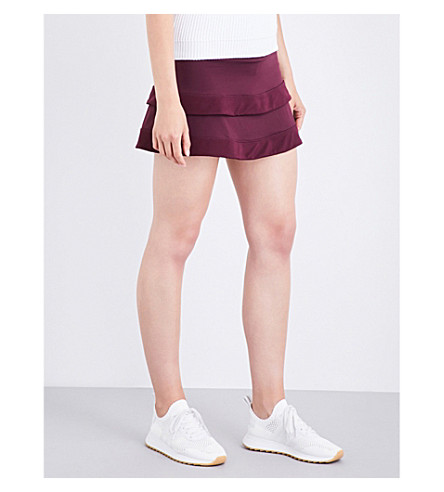 SWEATY BETTY Advantage mesh-overlay stretch-jersey tennis skort (Oxblood