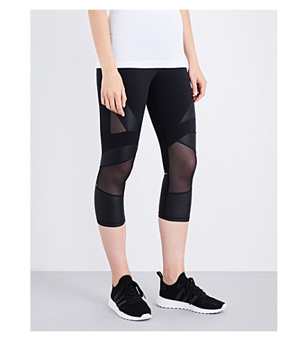 SWEATY BETTY Power wet-look mesh and jersey leggings (Black