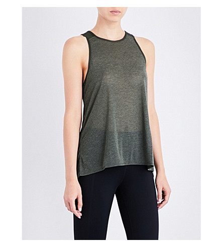 SWEATY BETTY Pacesetter sleeveless stretch-jersey top (Olive
