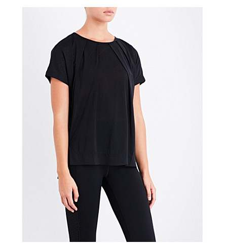 SWEATY BETTY Hinoki pleat-detail jersey T-shirt (Black