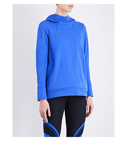 SWEATY BETTY Pleat Tech jersey run hoody (Ultramarine