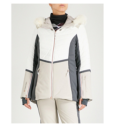 SWEATY BETTY Method Hybrid stretch-shell ski jacket (White/sand/charcoal+grey