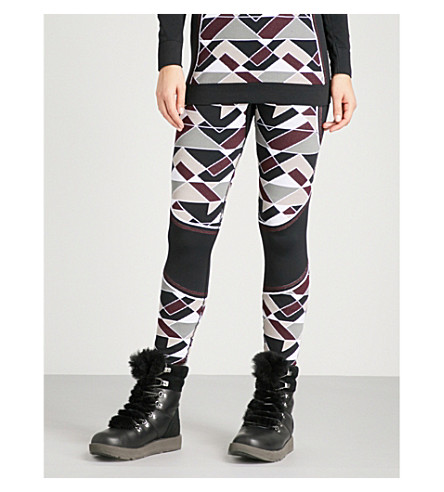 SWEATY BETTY Vienoisserie Ski Base Layer stretch-jersey leggings (Oxblood+jacquard