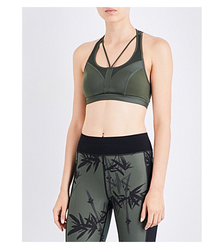 SWEATY BETTY Tempo Workout jersey cropped top (Olive