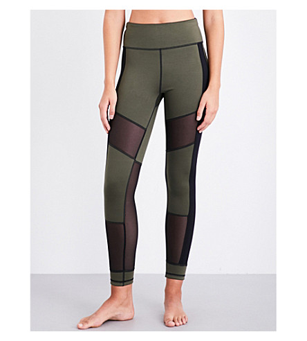 SWEATY BETTY Urdhva 7/8 reversible jersey leggings (Olive/black