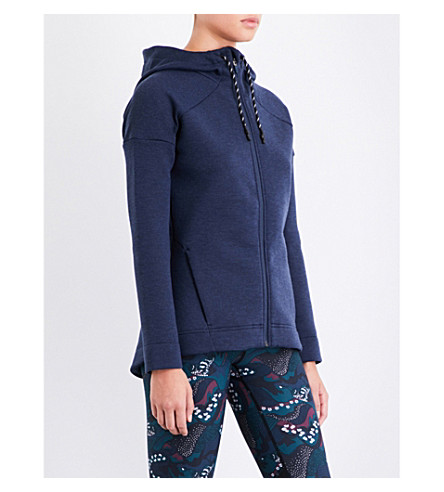 SWEATY BETTY Hooded bonded-jersey jacket (Beetle blue marl