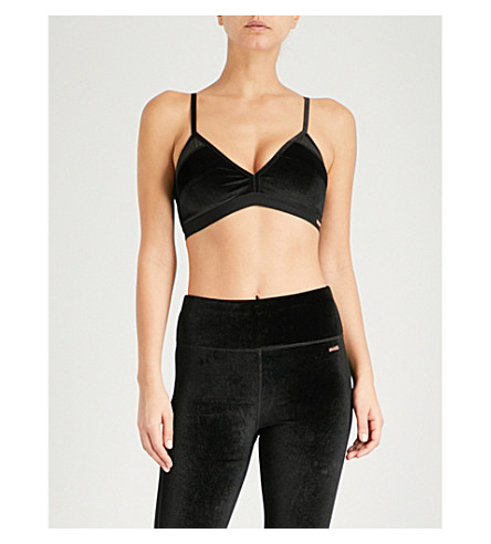 SWEATY BETTY Velvet padded sports bra (Black