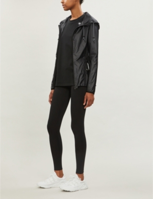 Drawstring-hood slim-fit shell jacket