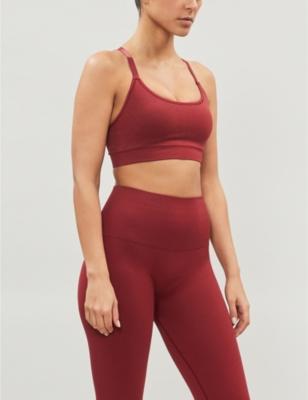 Cross-over stretch-jersey sports bra