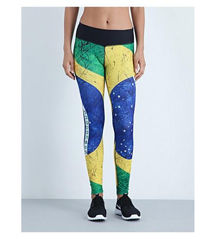 PLAYERLAYER Brazil flag-print jersey leggings (Multi