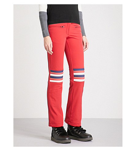 PERFECT MOMENT Aurora slim-fit mid-rise shell trousers (Red+rainbow