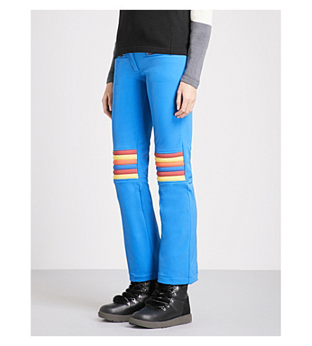 PERFECT MOMENT Aurora flared slim-fit mid-rise stretch-shell ski trousers (Cobalt+rainbow
