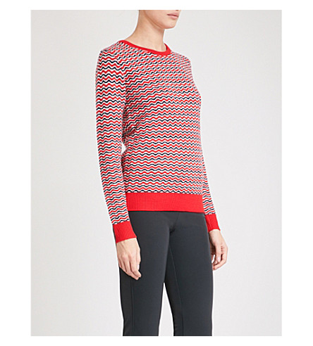 PERFECT MOMENT Frequency wave-patterned wool jumper (Red+snow+navy+zigzag