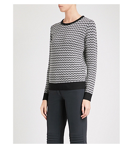 PERFECT MOMENT Frequency wave-patterend wool jumper (Black+white+grey+zigzag