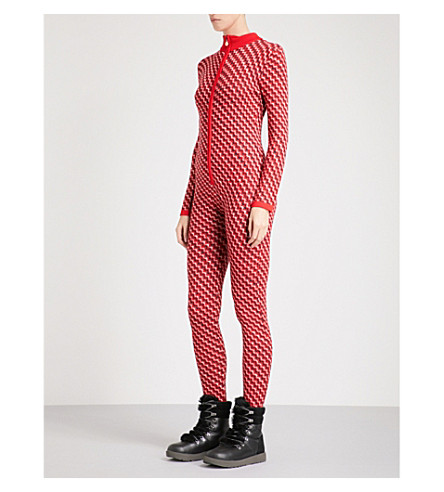 PERFECT MOMENT Frequency wool ski jumpsuit (Red+white+navy+zigzag