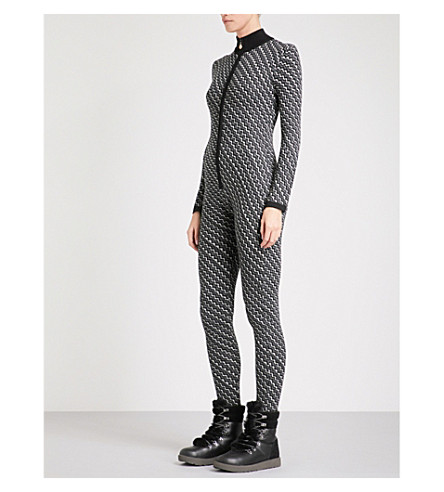PERFECT MOMENT Frequency wool ski jumpsuit (Black+white+grey+zigzag