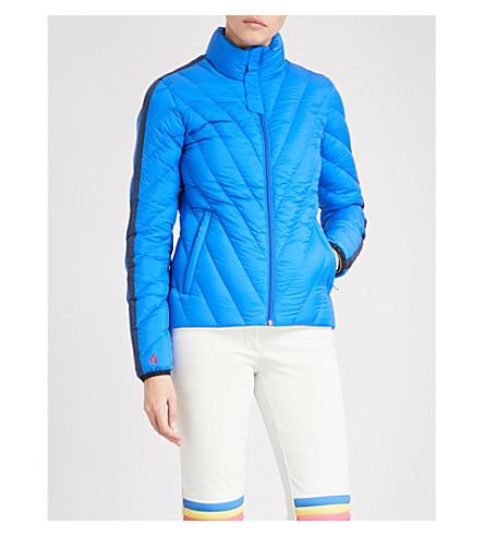 完美瞬间迷你羽绒被绗缝 软壳面料羽绒 和羽毛混纺滑雪夹克 (钴 + 海军