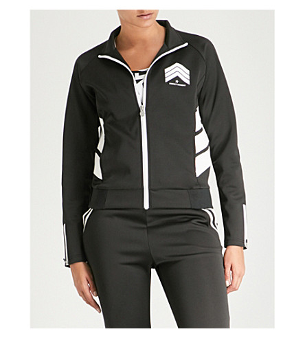 PERFECT MOMENT Chevron stretch bomber jacket (Black