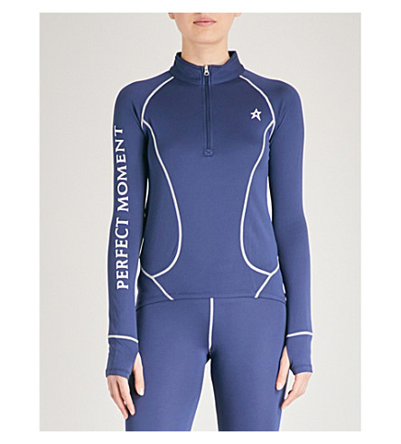 PERFECT MOMENT Thermal stretch-woven ski top (Navy