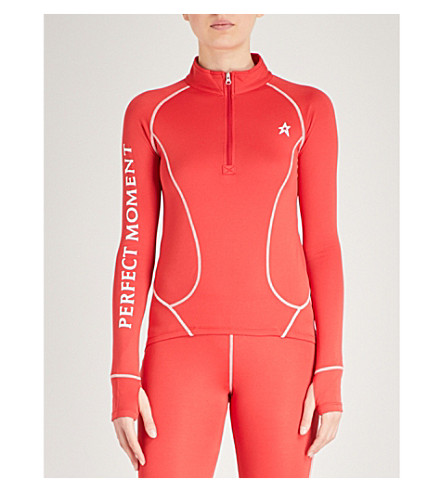 PERFECT MOMENT Thermal stretch-woven ski top (Red