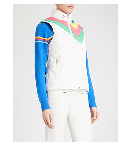 PERFECT MOMENT Vale quilted puffer ski gilet (Snow+white+rainbow