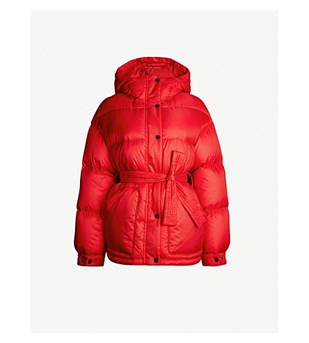 PERFECT MOMENT Belted shell-down parka ski jacket (Red/nordic green