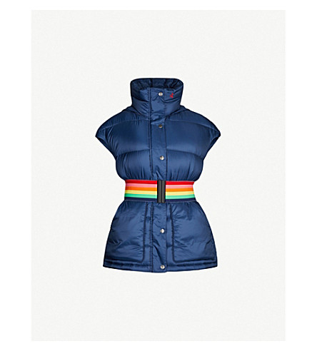 PERFECT MOMENT Oversized belted shell-down ski gilet (Navy/citron
