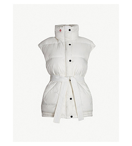 PERFECT MOMENT Oversized belted shell-down ski gilet (Snow white