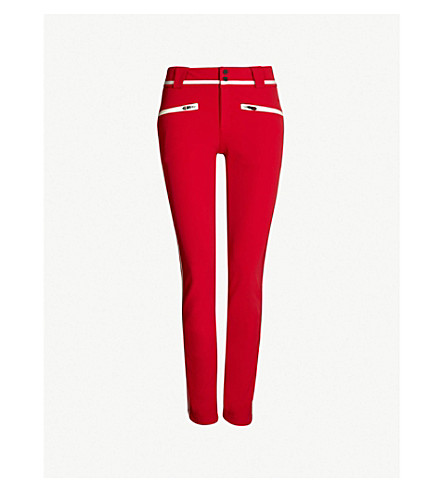 PERFECT MOMENT Aurora 高腰紧身弹力壳滑雪裤子(红雪白