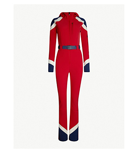 PERFECT MOMENT Allos shell ski jumpsuit (Red/snow white/ navy