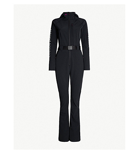 PERFECT MOMENT Logo-print belted shell ski jumpsuit (Black