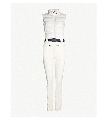 PERFECT MOMENT Sleeveless quilted shell-down ski jumpsuit (Snow white