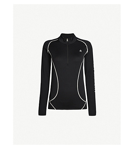 PERFECT MOMENT Half-zip knitted thermal top (Black