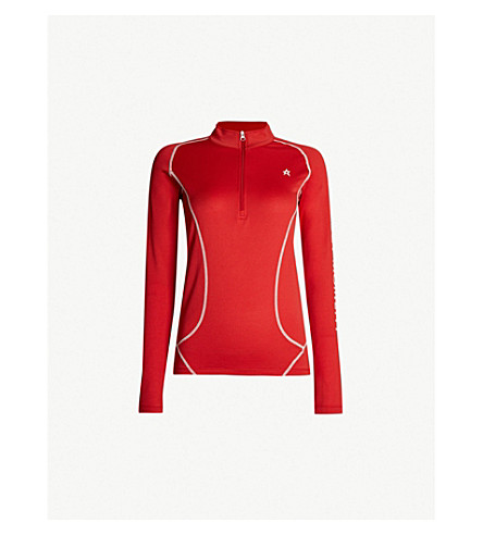 PERFECT MOMENT Half-zip knitted thermal top (Red