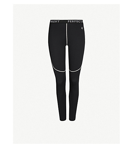 PERFECT MOMENT High-rise knitted thermal leggings (Black