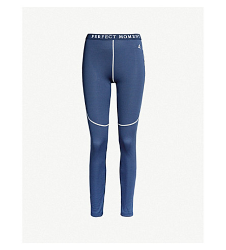 PERFECT MOMENT High-rise knitted thermal leggings (Navy