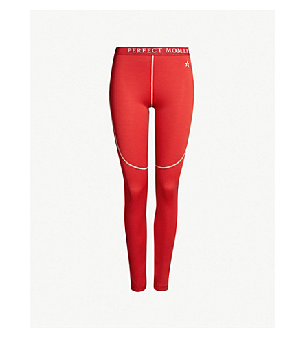 PERFECT MOMENT High-rise knitted thermal leggings (Red
