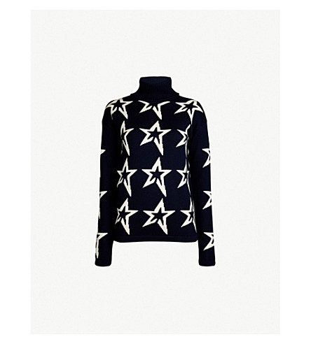 PERFECT MOMENT Star Dust wool jumper (Navy/snow white star
